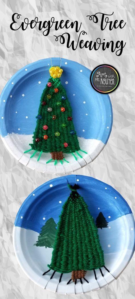 How To Create An Evergreen Tree Weaving Art With Mrs Nguyen Papperstallrikar Handgjort Papperspyssel