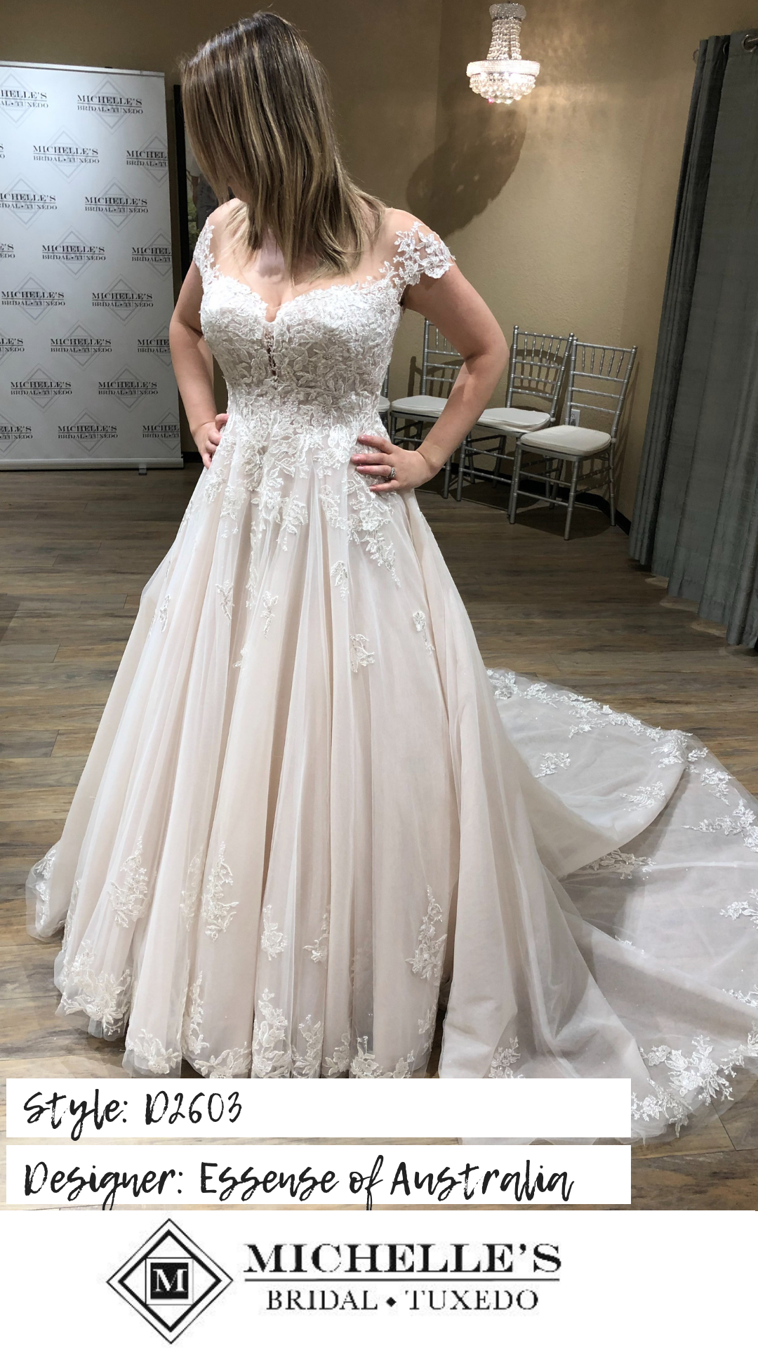 5490d838b9548 Fit for the modern-day princess, this romantic ballgown with off-the-shoulder  cap sleeves from Essense of Australia is a dreamy design. #D2603