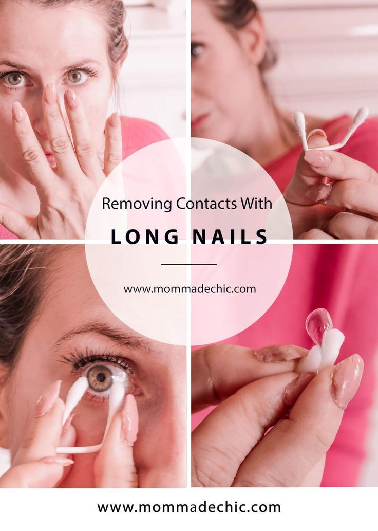 How to remove contact lenses with long nails contact