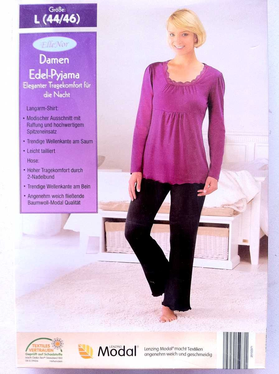 Damen Pyjama Set Langarm// 100 /% Viskose
