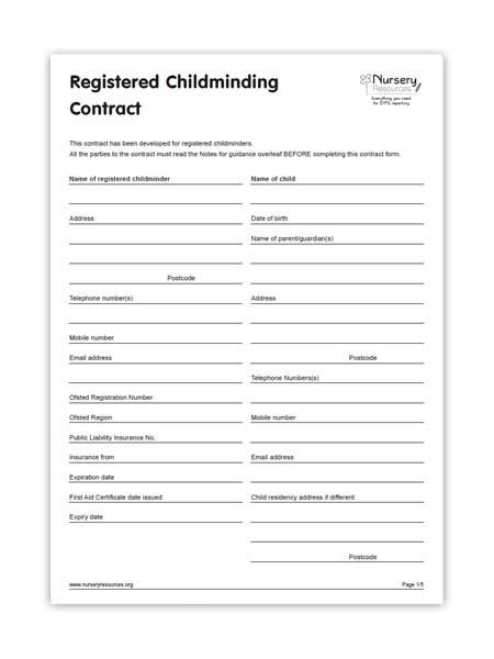 Detailed Childminding Contract Forms  Childminding  Paper Work