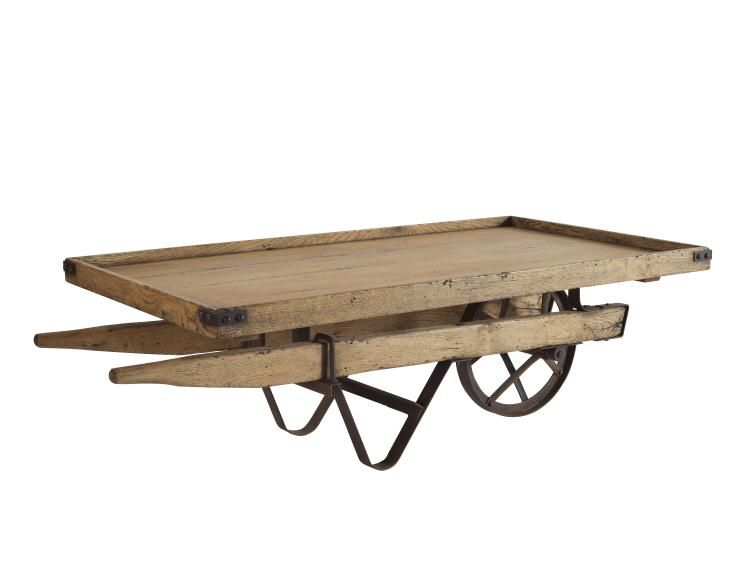 Rennes Wheel Barrow Coffee Table Acacia Amp Oak Solids And