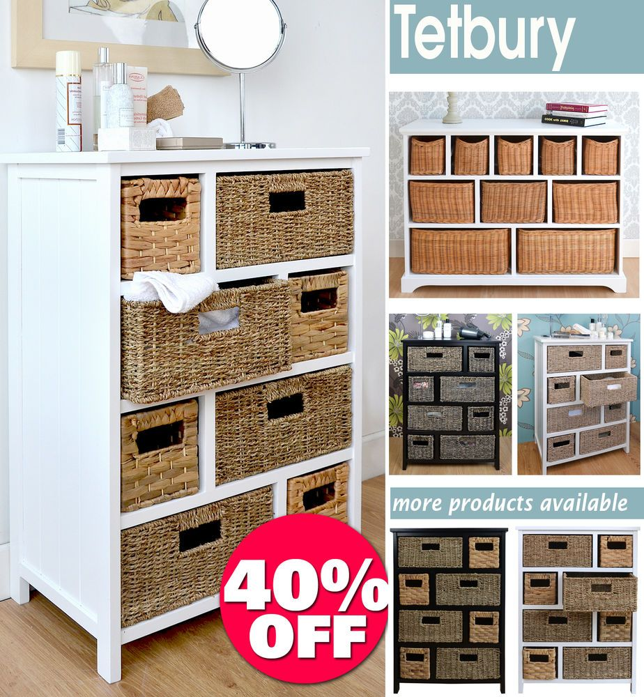 Storage for hallway  Tetbury Large Storage Unit with wicker basketsBathroom storage