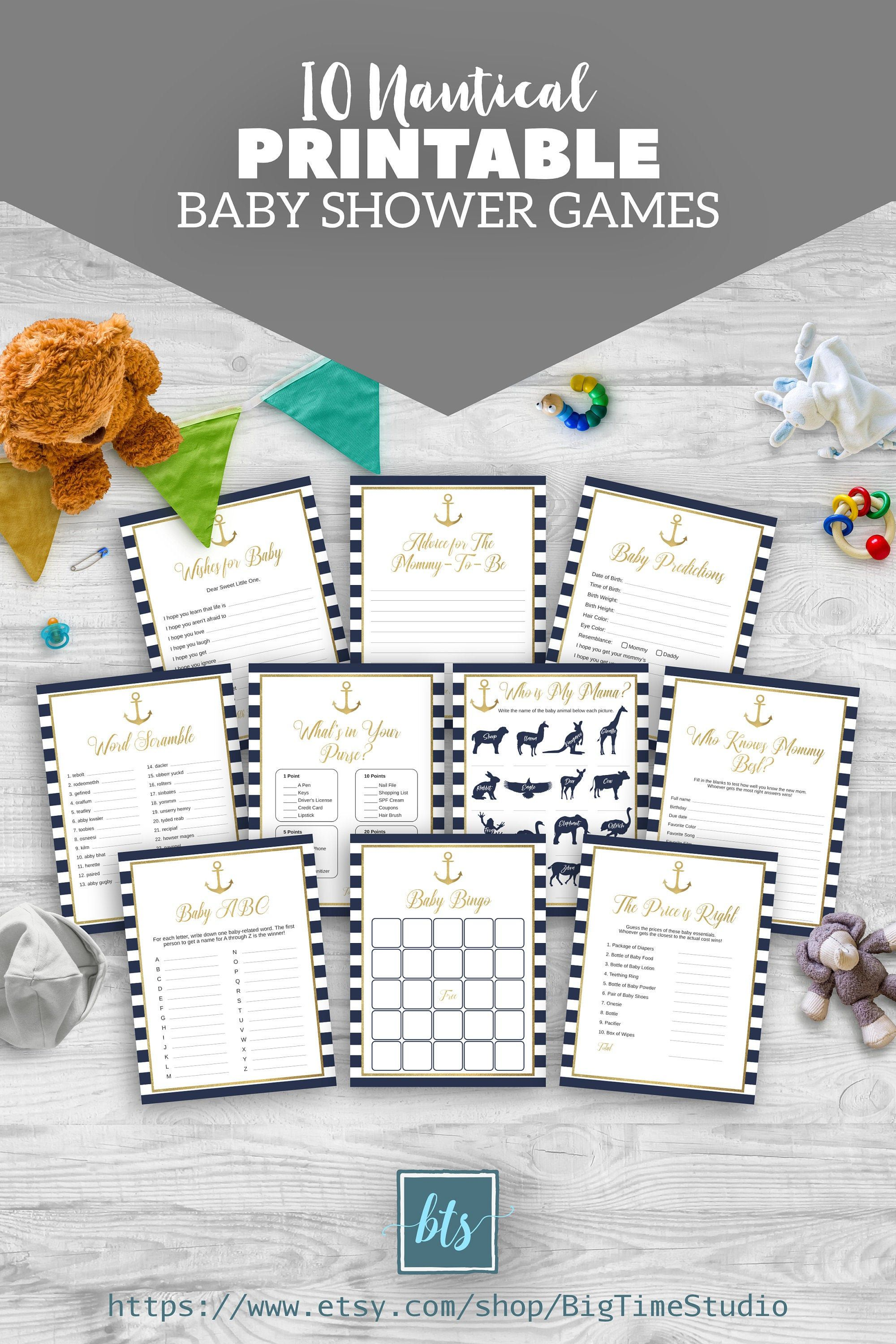 10 printable gold and navy blue nautical baby shower games