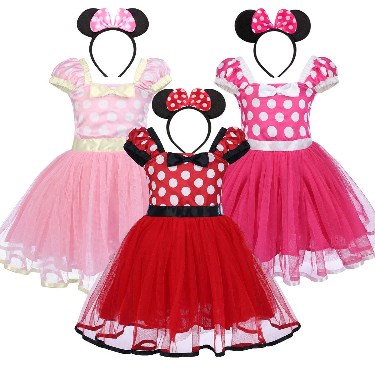Red Baby Girl Minnie Mouse Costume Birthday Party Tutu Dress Halloween Xmas