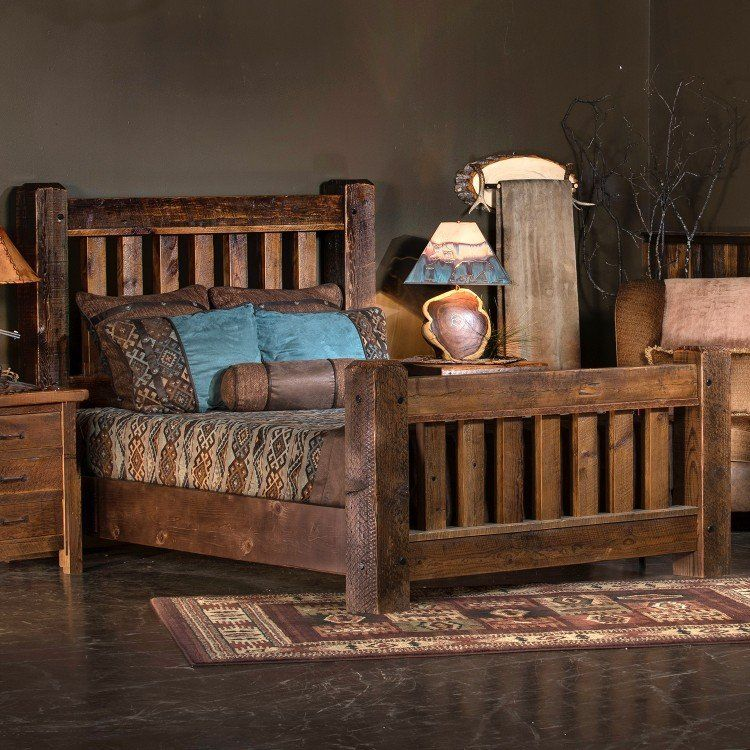 old sawmill timber frame barn wood bed  rustic bedroom