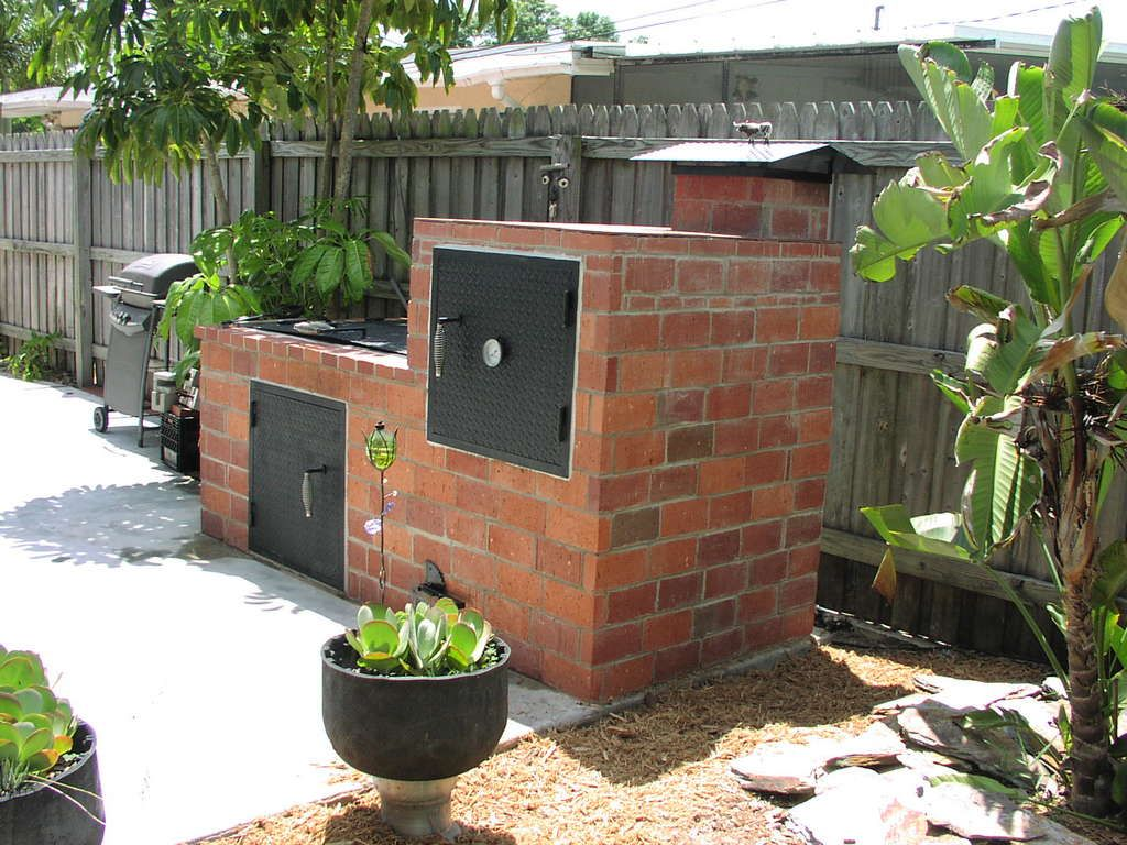 Brick grill and smoker food pinterest brick grill for Outdoor kitchen smoker plans