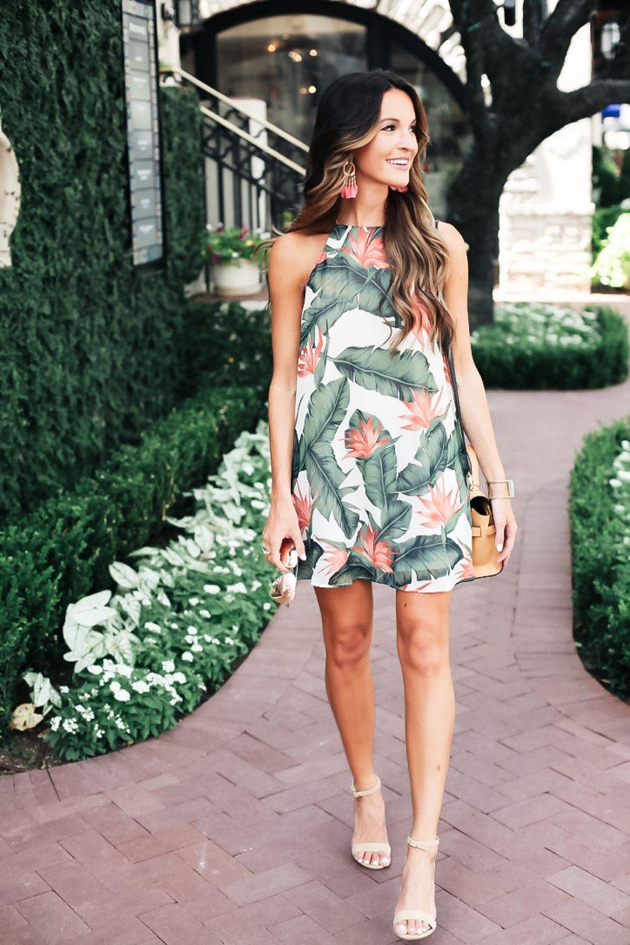 Palm Leaf Dress Lauren Kay Sims Summer Dresses Vacation Dresses Dresses