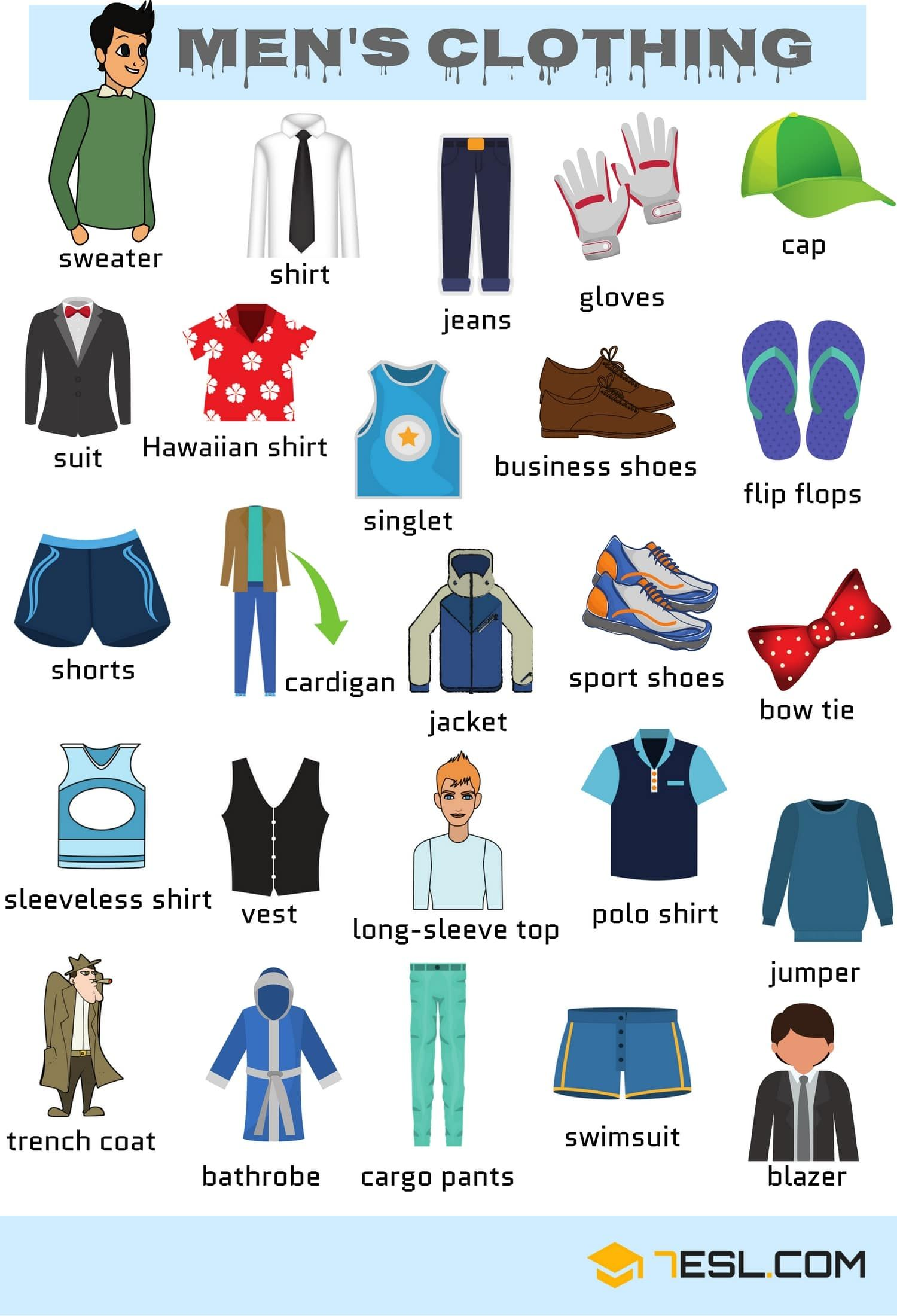 Men S Clothing Vocabulary Names Of Clothes With Pictures