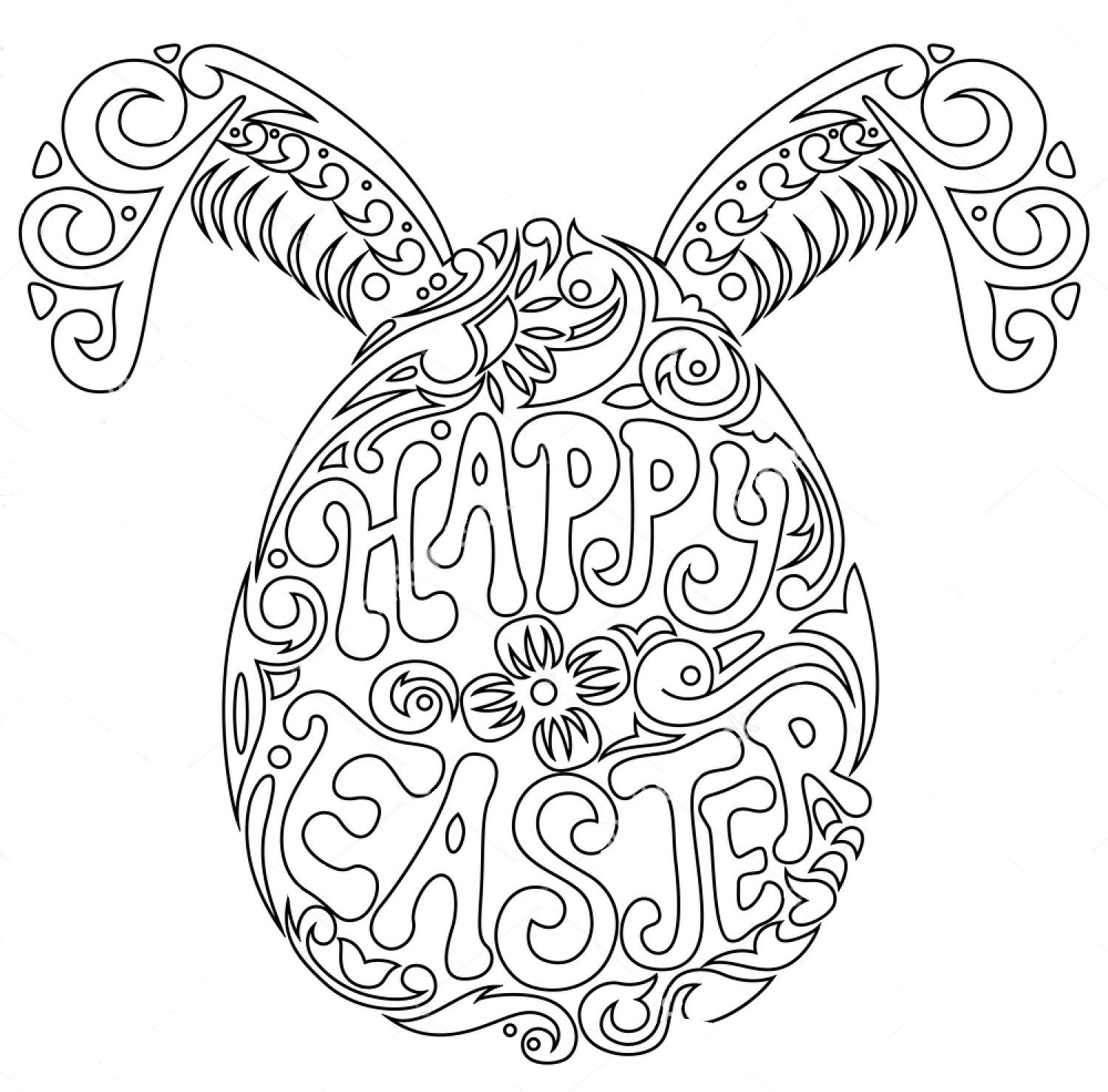 Happy Easter Zentangle Coloring Page