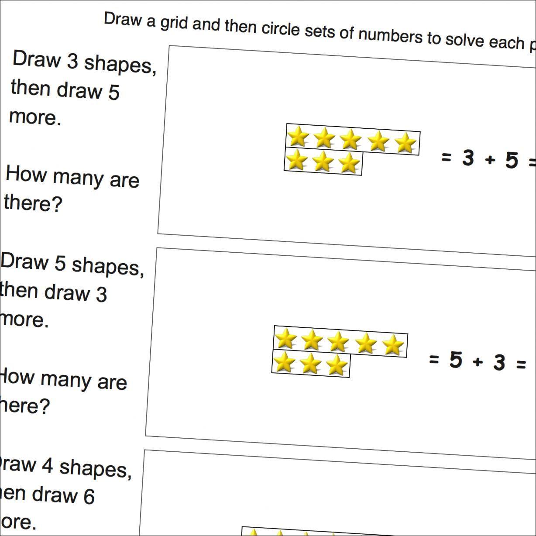 Math Worksheets Addition Draw Grid
