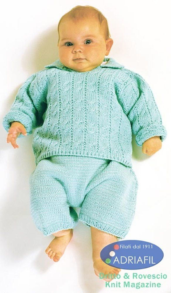 Free Knitting Pattern For Baby Pullover Paperelle Set In Adriafil