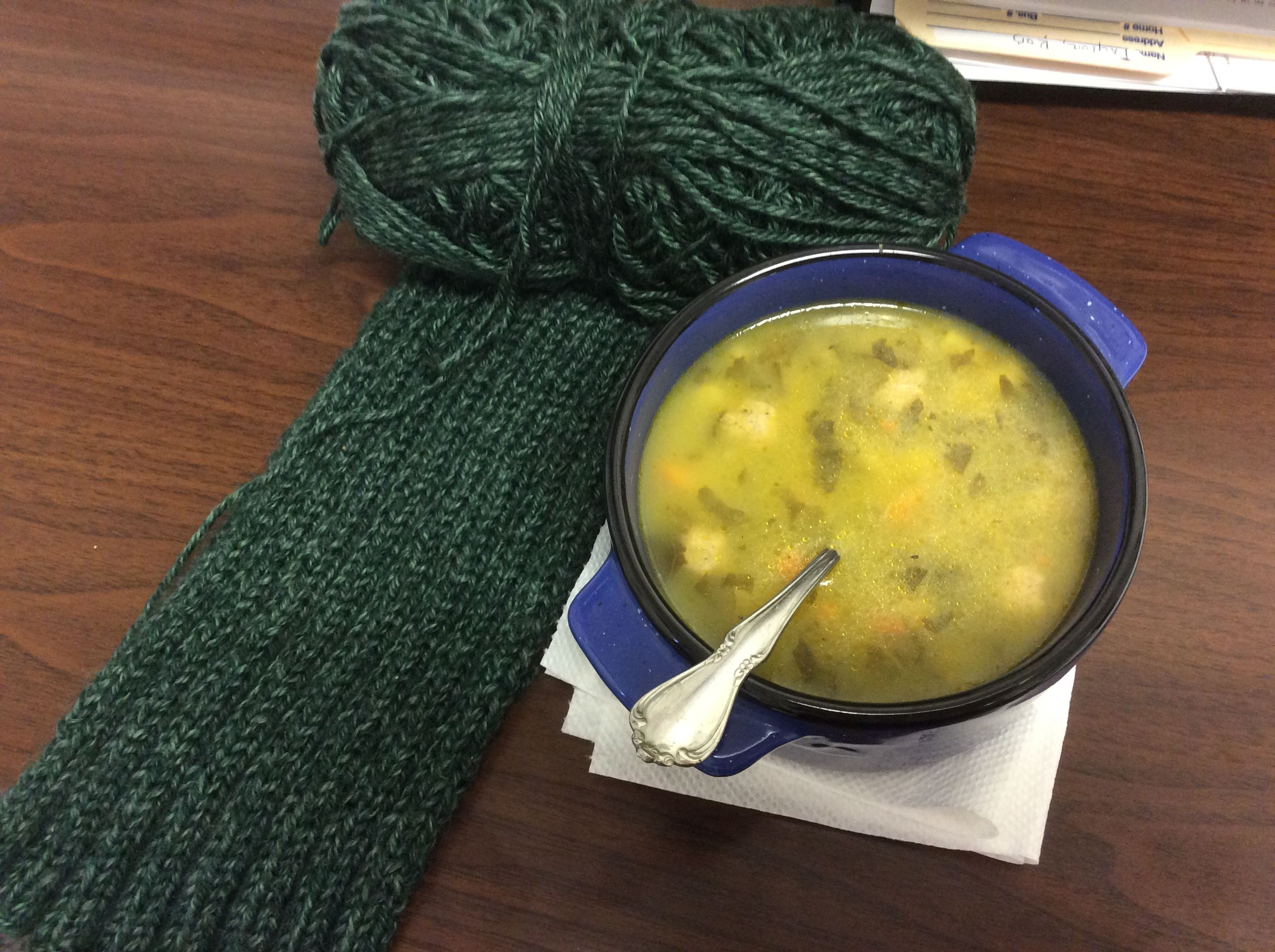 Lunchtime knitting. Lucky Scarf by Mary Keenan for my husband. Yarn is Lion Brand Heartland Kings Canyon.