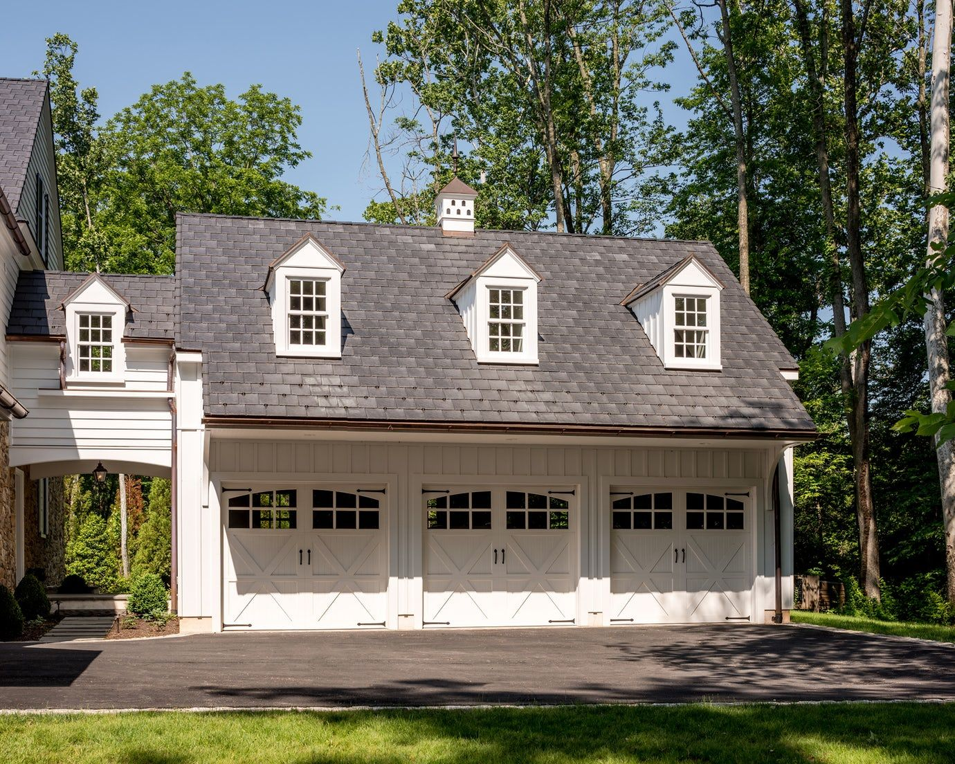 Carriage House Style Garage Attached To Pennsylvania Farmhouse Colonial American GarageCarport By Period Architecture
