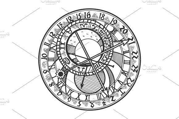 Astronomical Clock Tattoo: Prague Astronomical Clock Vector