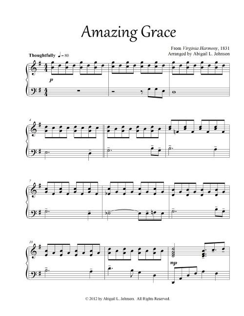 The Melody Of This Amazing Grace Hymn Arrangement Starts In The Bass