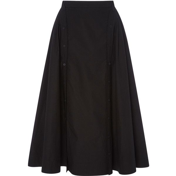 CG Double Placket Circle Skirt ($790) ❤ liked on Polyvore featuring skirts, flared skirt, a line flared skirt, skater skirt, button up skirt and cotton skater skirt