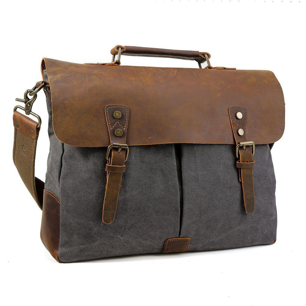 98dedbe7a6 Tiding Men Retro Canvas Leather 15.6 Inch Laptop Vintage Messenger Bag  Satchel Hobo Briefcase Cross Body