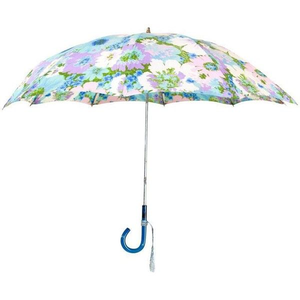 Pre-owned Vintage Pastel Multicolored Floral Umbrella ($159) ❤ liked on Polyvore featuring decorative objects, colorful patio umbrellas, floral patio umbrella, multi colored patio umbrella and vintage patio umbrella