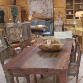 Table De Repas En Bois Recycle D Anciens Bateaux Mobilier Bois Massif Original Et Tendance Http Mobilier De Salon Meuble Bois Recycle Meuble Bois
