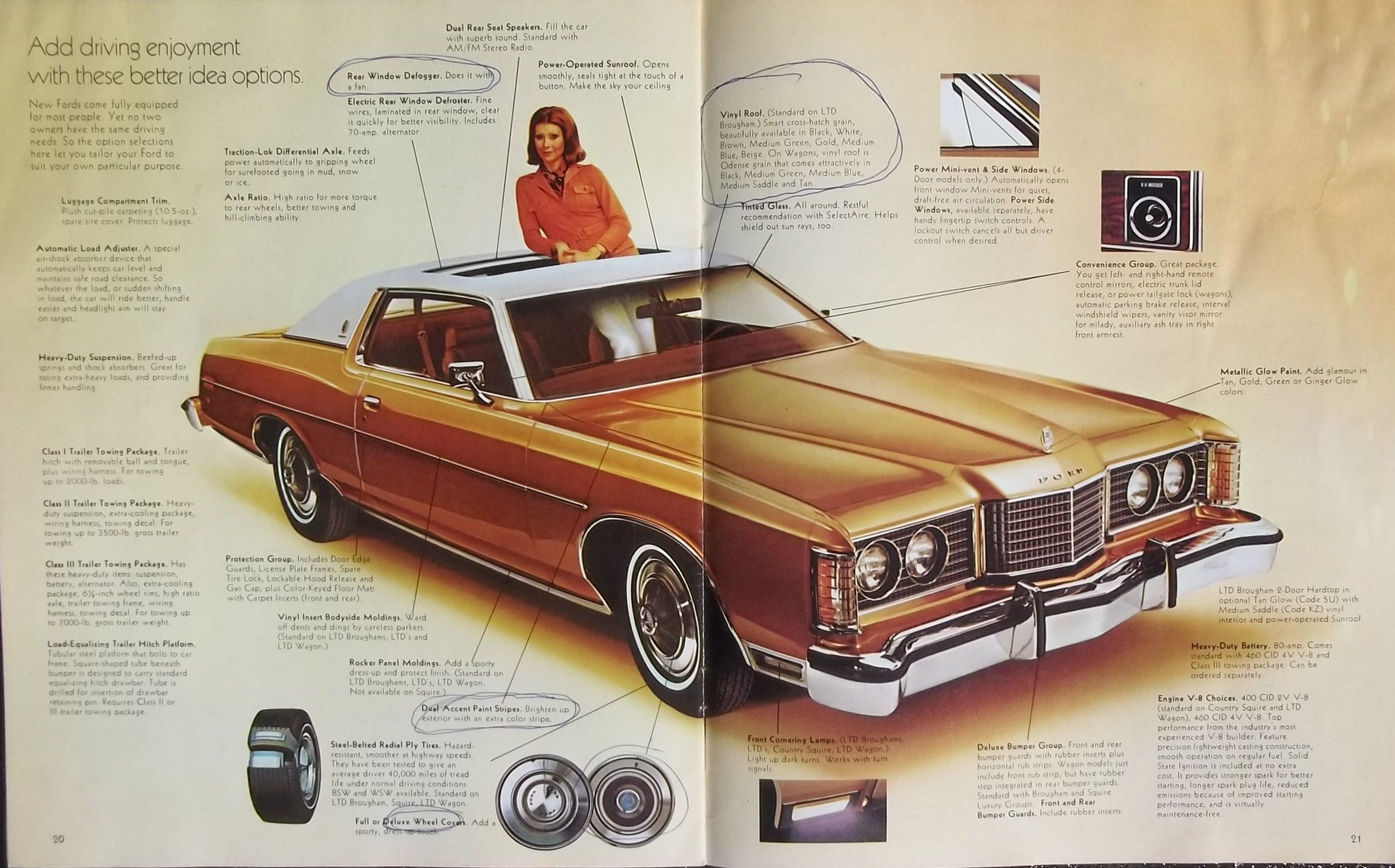 medium resolution of 1974 ford ltd brougham ltd galaxie 500 custom 500 and station wagon highlights