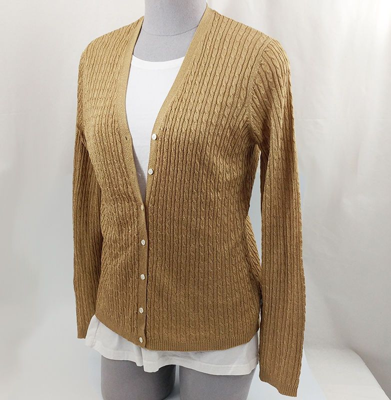 Ralph Lauren Ladies Gold Metallic Cardigan Sweater Large Green ...