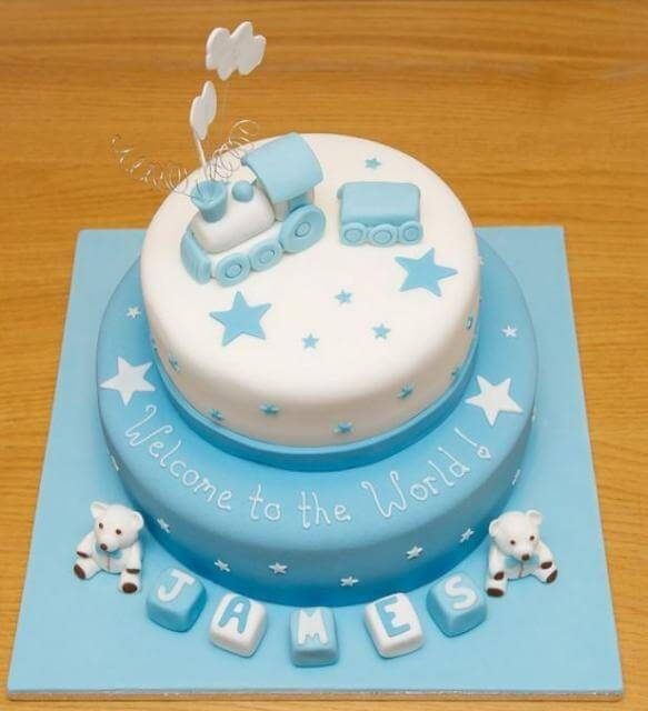 Two Tier Baby Shower Cake For Boy With Train And Baby Blocks Uploaded By  Cakeideas At