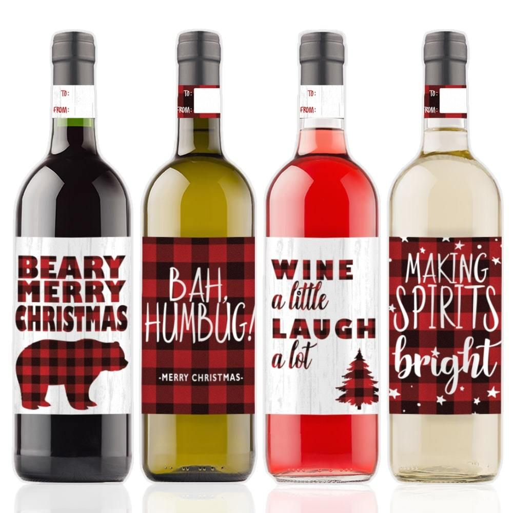 Plaid Christmas Wine Bottle Labels 4 Count Christmas Wine Bottle Labels Christmas Wine Bottles Wine Bottle