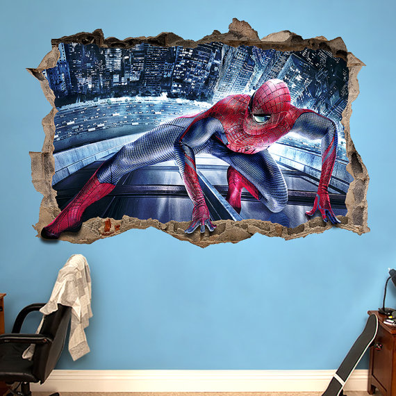 spiderman 3d wall sticker smashed bedroom kids decor vinyl on wall stickers 3d id=72871