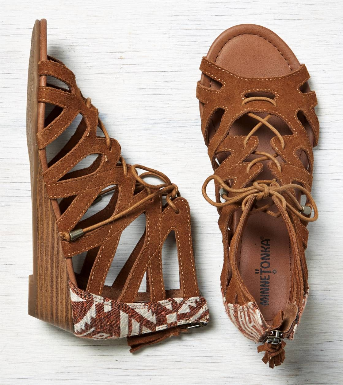 Minnetonka Merida Gladiator Wedge Sandal Best Foot