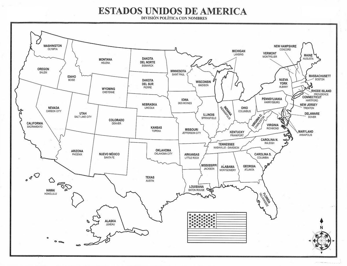 Mapa De USA | Mapa de los Estados Unidos de América con división ...