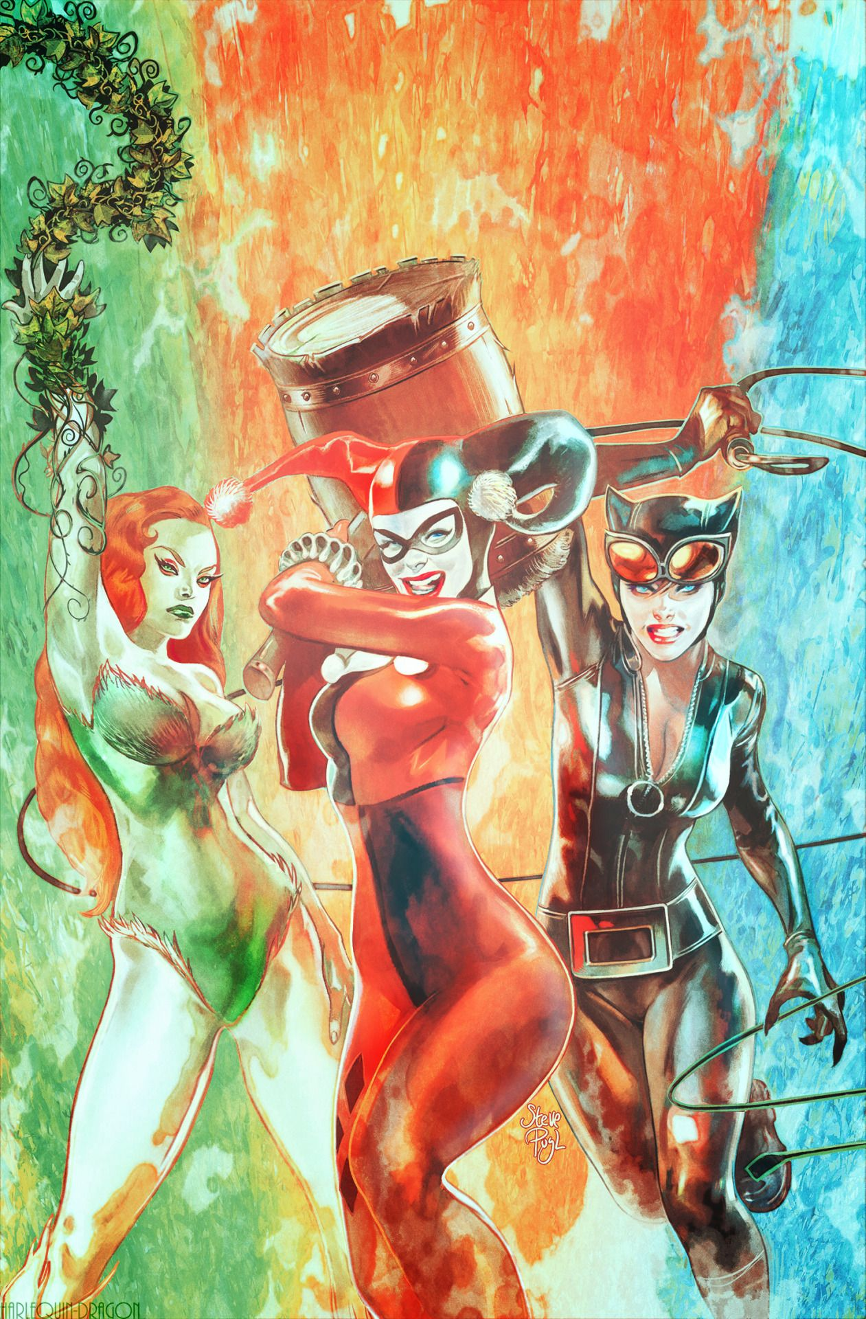 Ivy, Harley, & Catwoman in Convergence: Harley Quinn # 1 - Cover Art by Steve Pugh