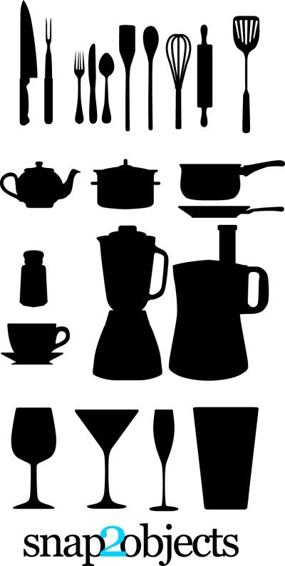 Kitchen Utensils Silhouette Vector Free free vector kitchen appliances: spoon, fork, cups, blenders