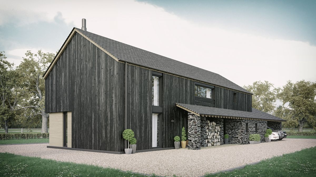 a barn style home featuring natural stone and finished with a barn style home featuring natural stone and finished with charred larch cladding