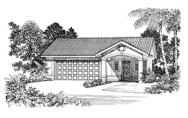 2 Car Garage Apartment Plan Number 91263 with 1 Bed, 1 Bath #garageplans