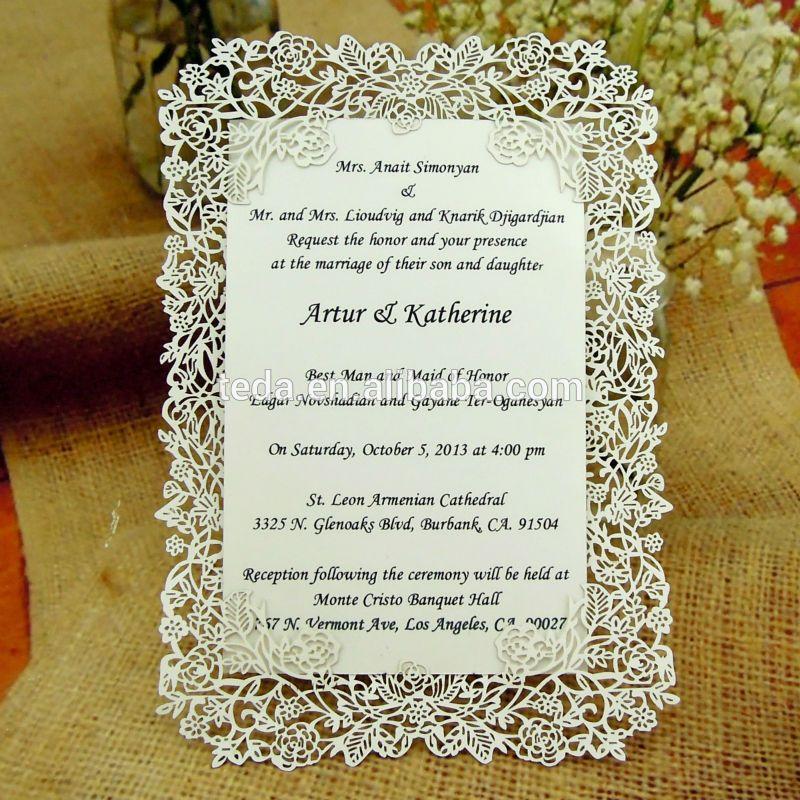Pin On Pocket Folded Laser Cut Wedding Invitation Cards