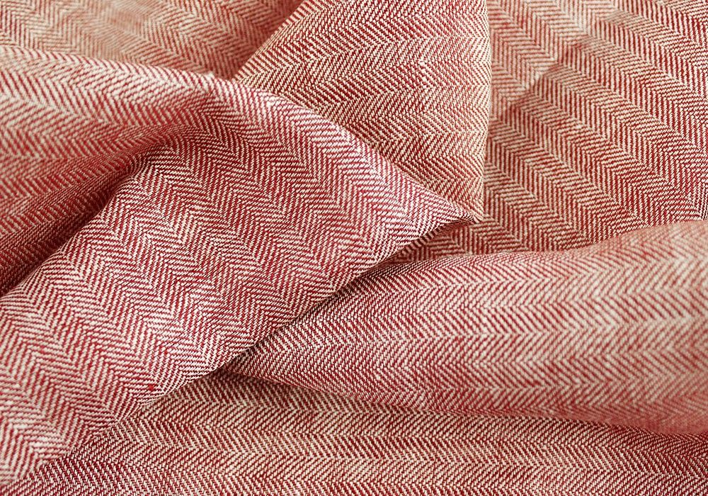 120 Wide Washed Red And White Herringbone Linen Made In Italy Fabric Red And White Linen Fabric
