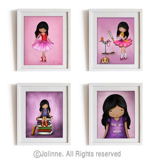 African American Wall Art And Decor dark skin girls wall art prints set, african american kids room