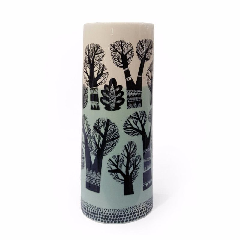 Lush Designs cylindrical earthenware vase with print of winter trees and wash of blue-green glaze