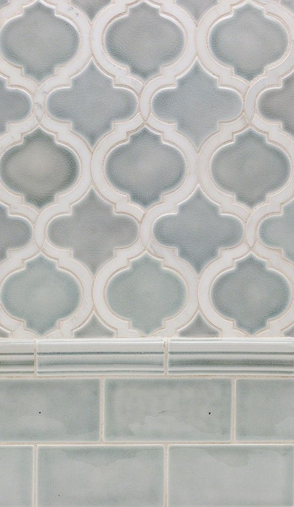 Nabi Arabesque Arctic Blue Marble Ceramic Tile Shower Remodel