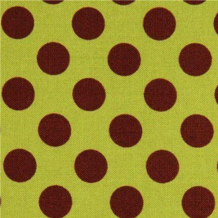 Tissu vert à pois marrons par Michael Miller