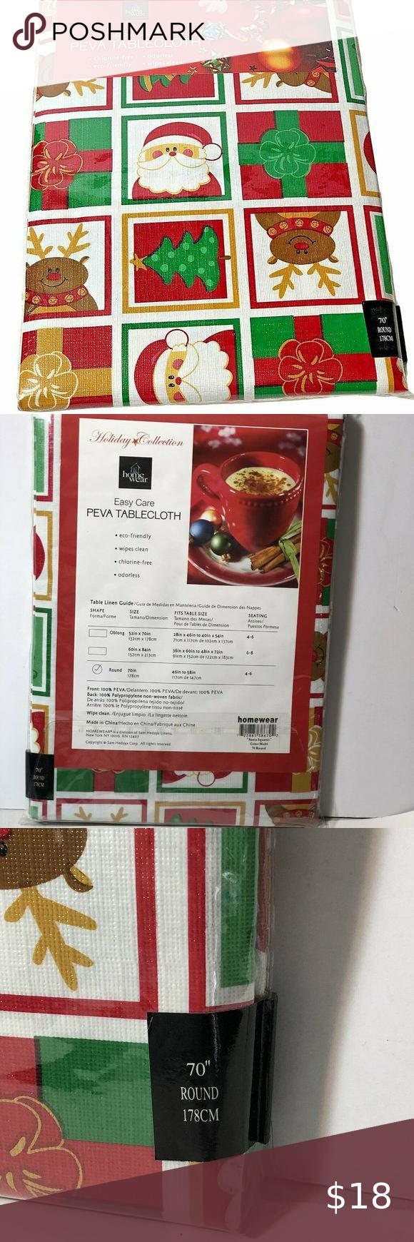 Santa Squares Christmas Vinyl Tablecloth 70 Round In 2020 Christmas Vinyl Vinyl Tablecloth Holiday Tablecloths