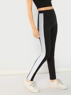 Reflective Side Stripe Legging #stripedleggings