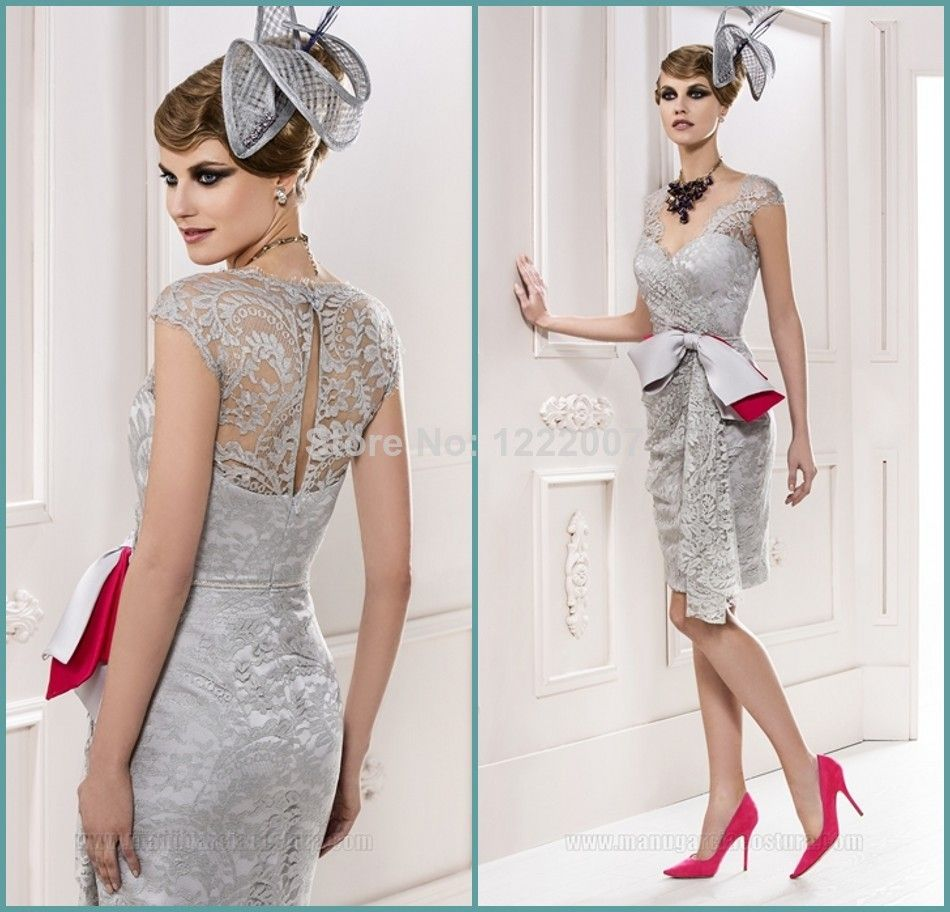 Gorgeous mother of the groom tea length dresses square neckline with