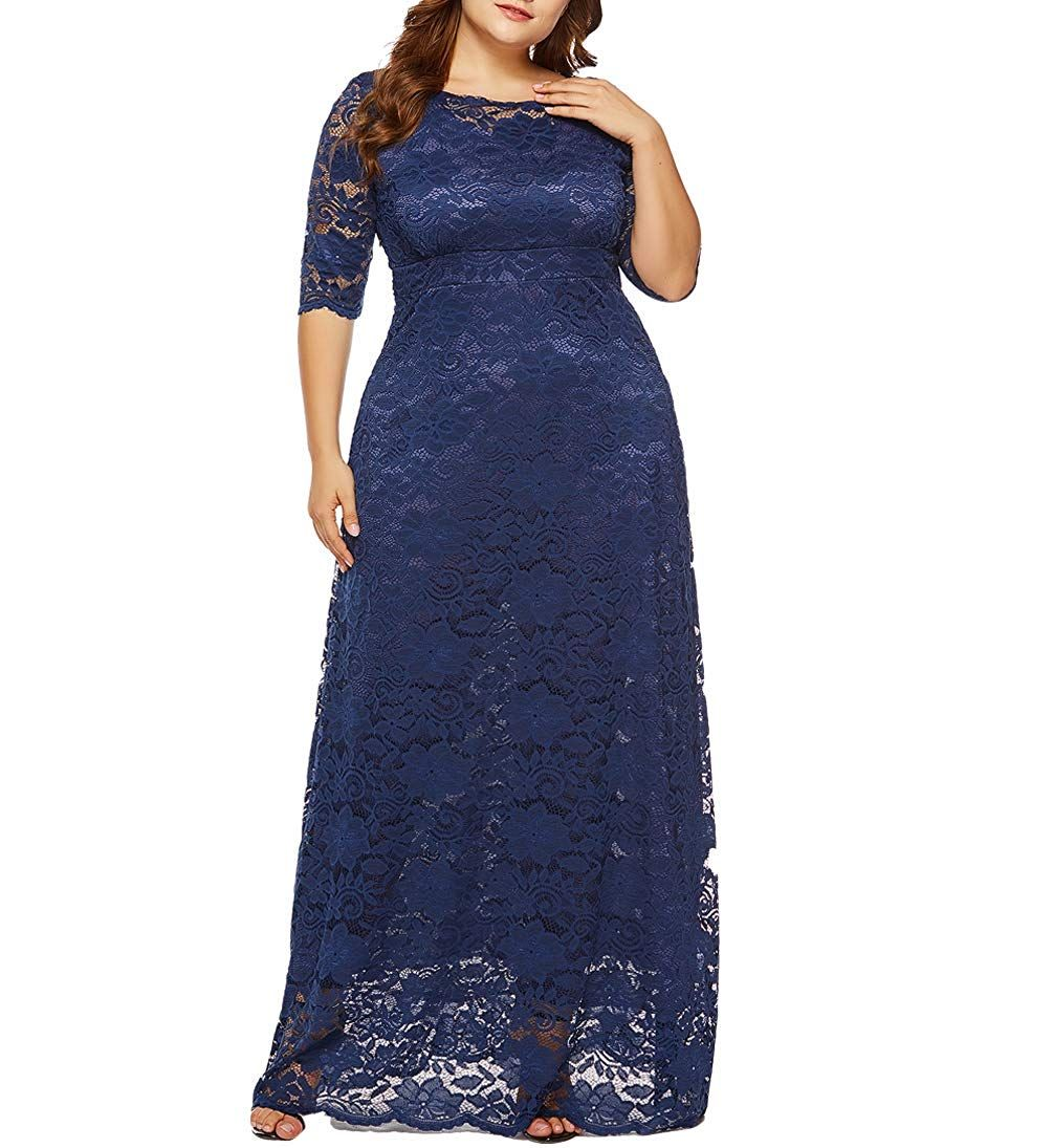 1e9ed6354718 Eternatastic Womens Floral Lace 2 3 Sleeves Maxi Dress Plus Size Evening  Party Dress at