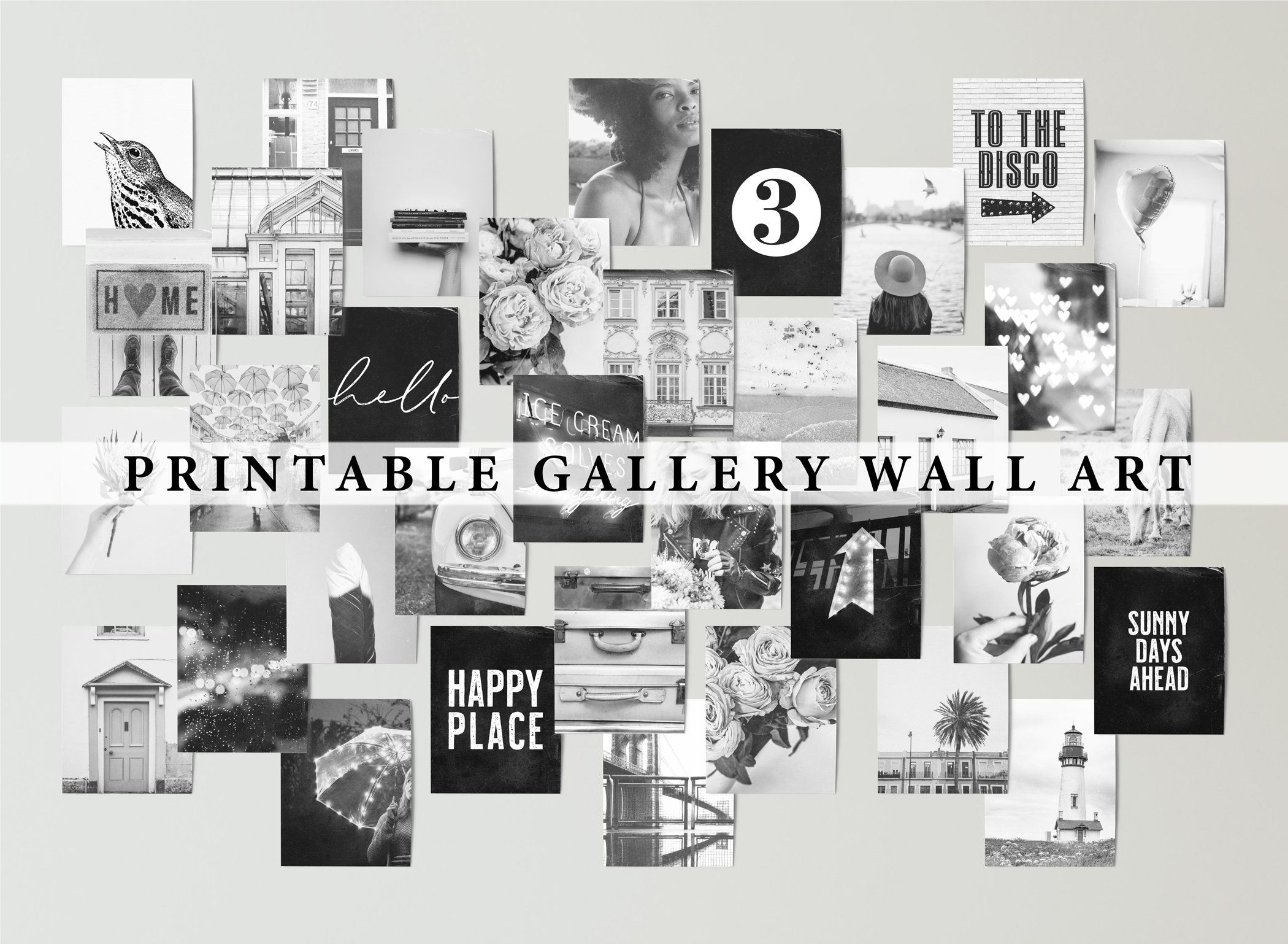 Black And White Collage Kit Printable Digital Files Gallery Wall Art Set Of 35 Gray Wall Decor Collage Wall Art Wall Collage Art Collage Wall Dorm Room Art
