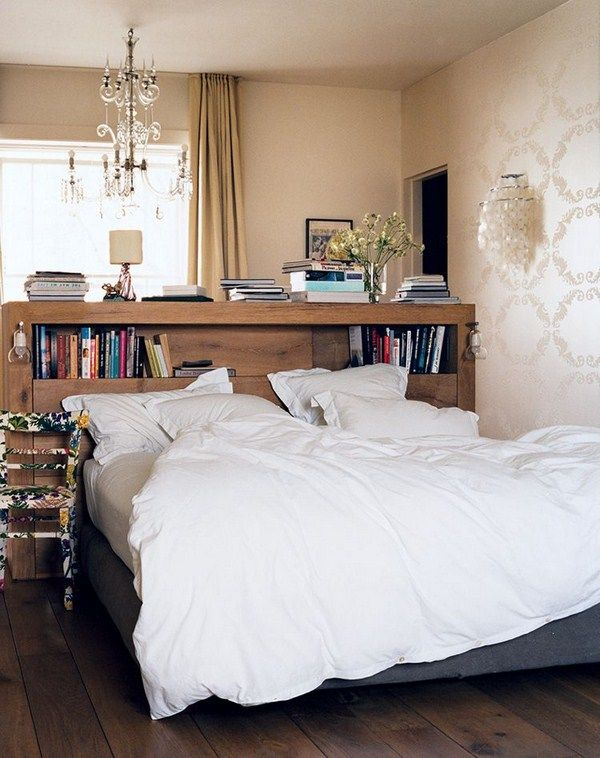 ○Get Creative With Your Furniture   Turn Your Tallest Bookshelves Into A  Modern, Eclectic Headboard, And Youu0027ll Have Easy Access To Your Favorite  Bedtime ...