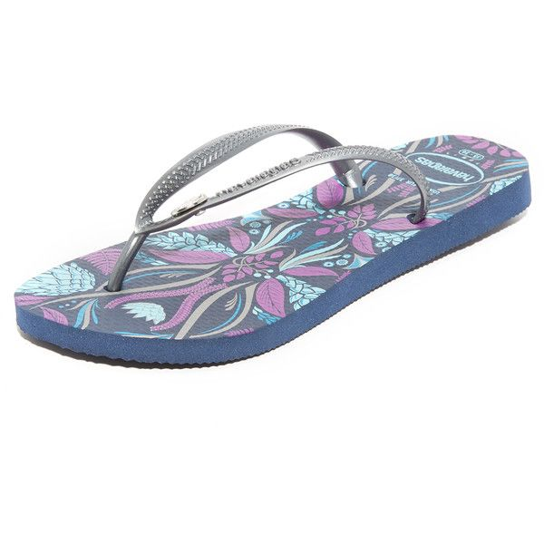 Havaianas Slim Royal Flip Flops ($32) ❤ liked on Polyvore featuring shoes, sandals, flip flops, navy blue sandals, navy blue flip flops, navy sandals, slim flip flops and navy flip flops
