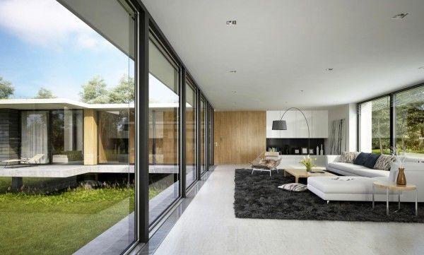 Grand salon avec mur en verre salon salon spacieux salon moderne et salons luxueux - Grand salon moderne ...