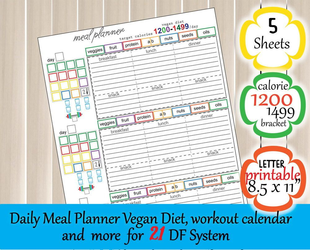 Day Fitness Vegan Meal Plan  Calories Tracker Grocery List